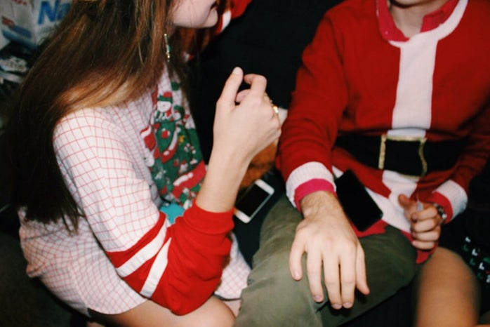 Anna Schultz-Girl And Guy Talking At Holiday Party