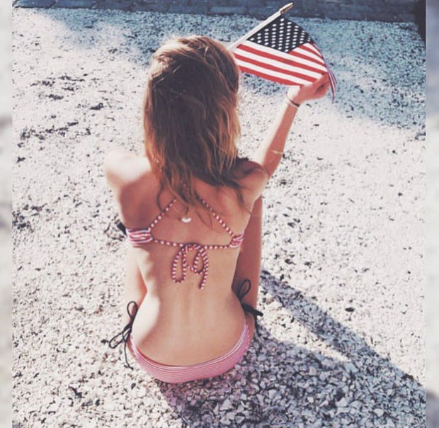 Flag Beach Swimsuit Bikini Fourth Of July Patriotic American Usa