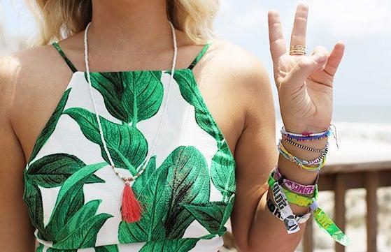 Peace Sign Crop Top Beach Bracelets Necklace Blonde Hair Torso Tropical