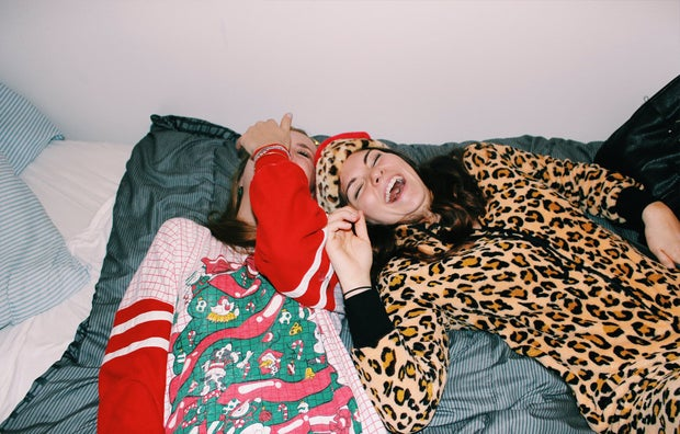 Anna Schultz-Girls Laughing In Holiday Pajamas