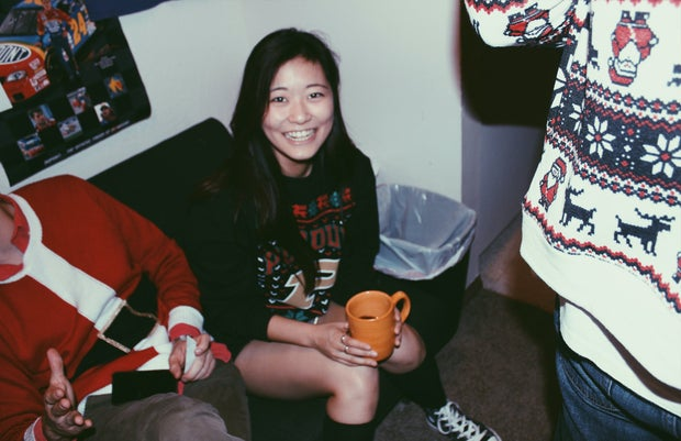 Anna Schultz-Girl Smiling With Mug At Holiday Party