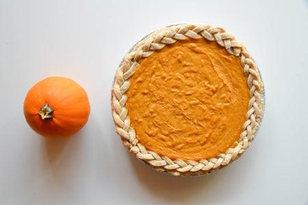 Pumpkin Pie Whole Pie Top Down With Pumpkin