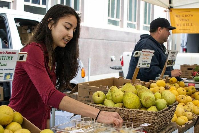 Farmers Market Test Fruit Girl