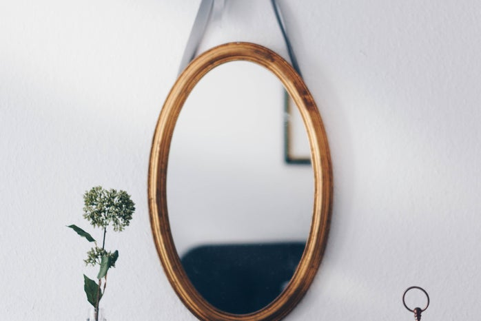 Oval Brown Wooden Framed Hanging Mirror