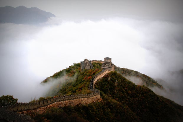 Mountains Clouds Historical Great Wall Of China