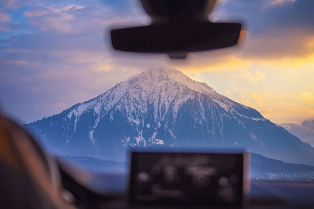 Photo Of Snow Capped Mountain Through Windshield