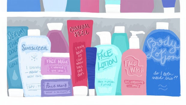 Medicine cabinet packed full of skincare products