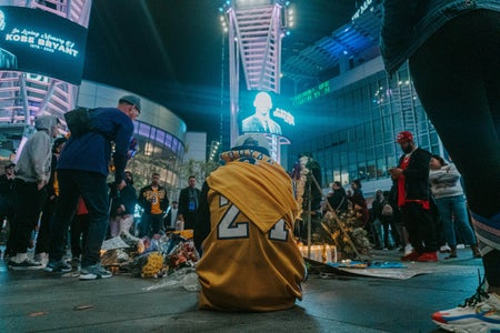 Fan's mourn Kobe Bryant's death at a vigil at Staples Center on January 26th, 2020
