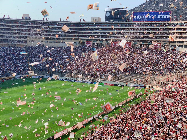 Packed soccer stadium celebrating