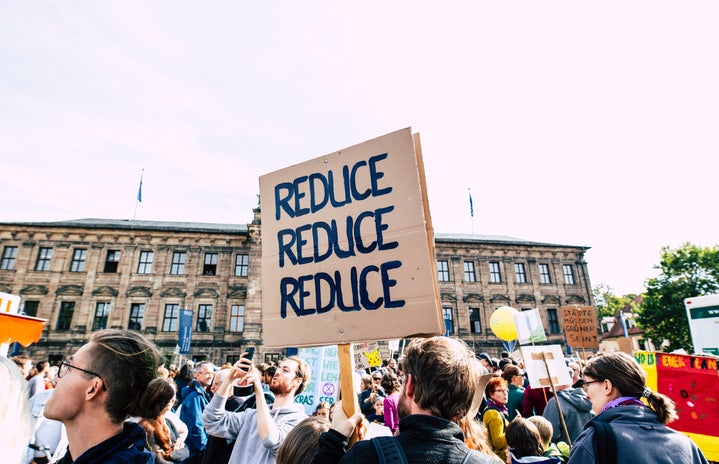 """Persona holding \""""reduce reduce reduce\"""" sign at a protest"""