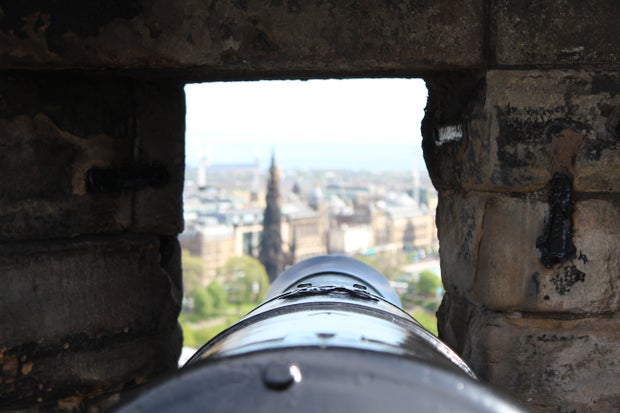 Cannon looking out onto Edinburgh