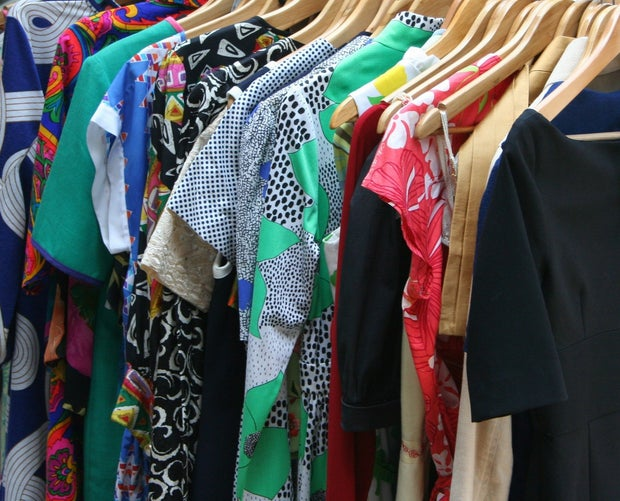 The image is a rack of clothing