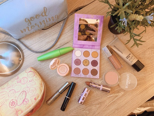 flat lay of makeup