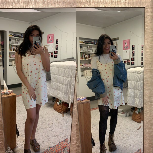 spring outfit mirror selfie