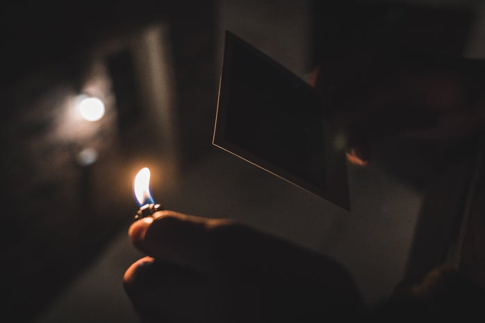 burning polaroid