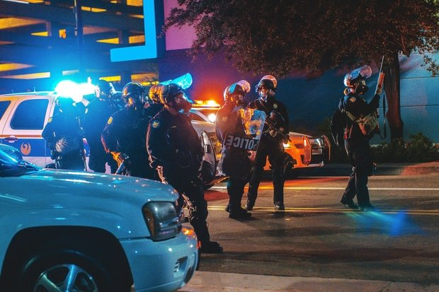 police arrive at a Donald Trump protest in Phoenix