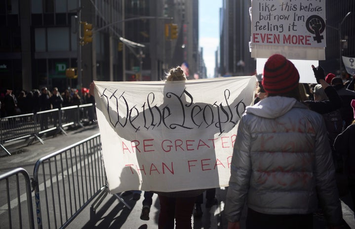 """""""we the people are greater than fear"""" sign from the women's march in NYC"""