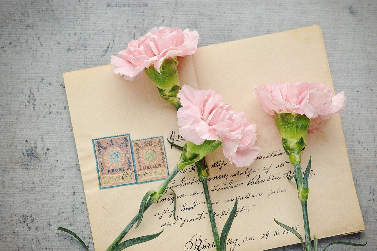 Love letter with flowers