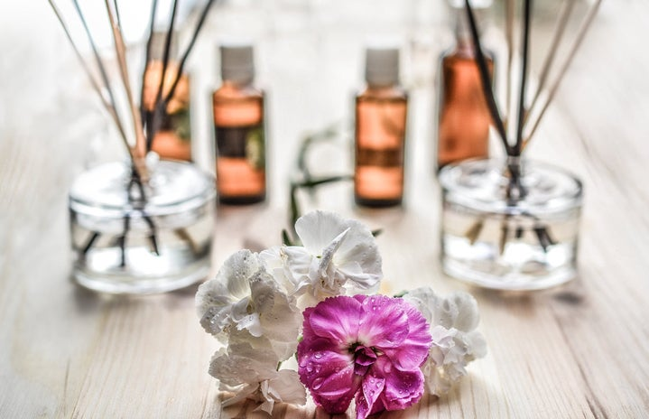 White and purple flower on wood table