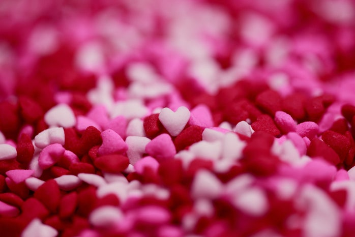 Tiny white, pink and red candy hearts
