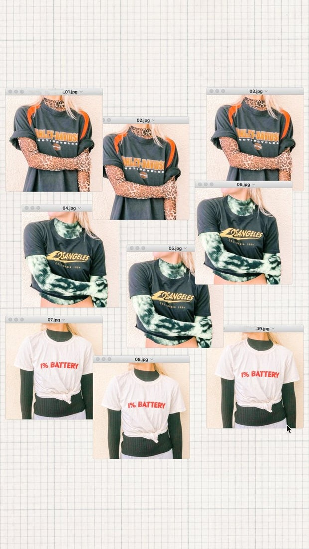 This is an image of a collage of nine photos of a girl wearing a tshirt and turtleneck.