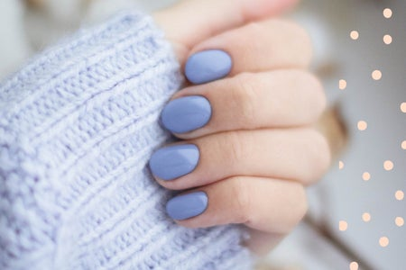periwinkle manicure on short nails