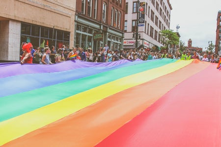 giant pride flag in street