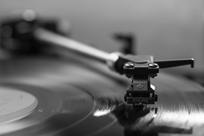 Close-up of a record player