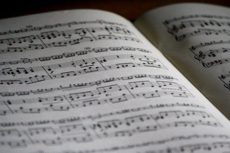 Close-up of piano sheet music