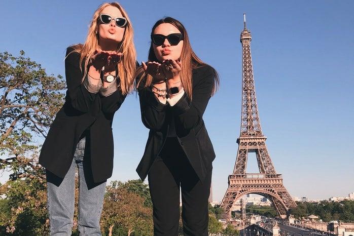 Women at Eiffel Tower