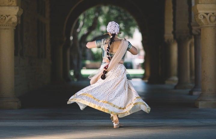 Indian girl running in the hallway
