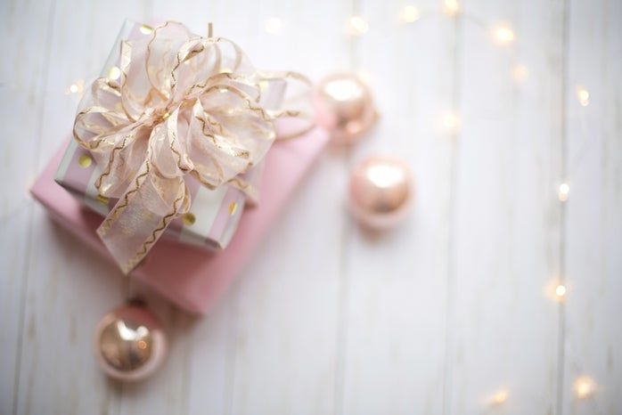 two pink boxes with bow