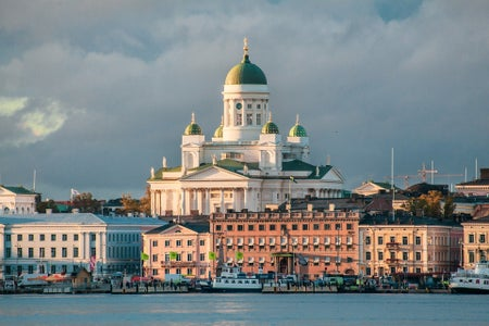 A picture of Helsinki cityscape with the Helsinki Cathedral.