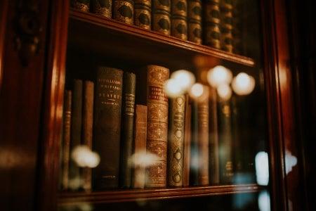 Law books on bookshelf