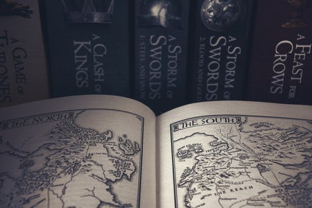 A fantasy world map from the front of a book
