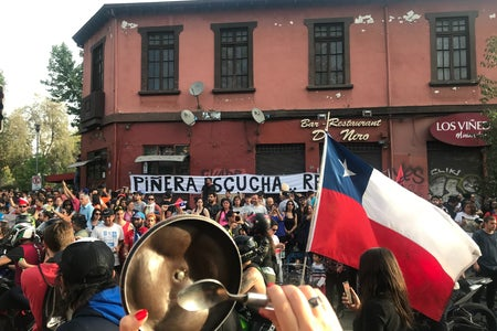 Image of the protests in Chile