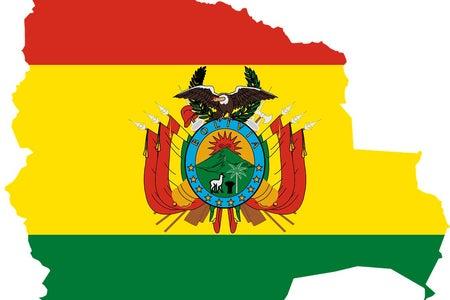 Flag and borders of Bolivia