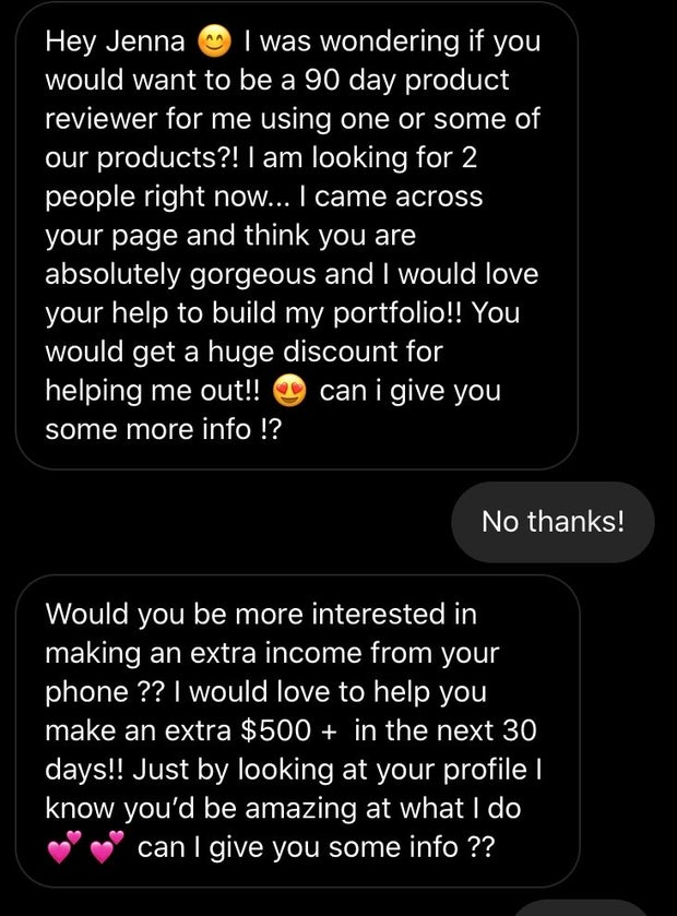 Screenshot of someone messaging me asking if I want to test their product or become a distrubutor
