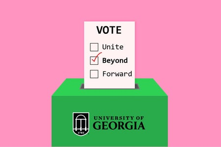 Graphic of a voting ballot for UGA. Beyond is checked.