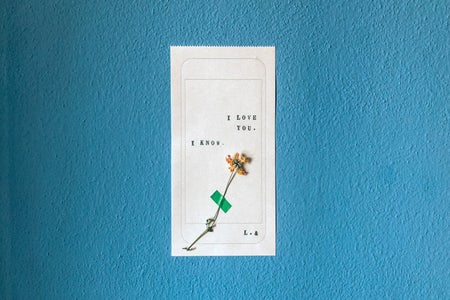 """Yellow flower on ticket. Ticket says """"I love you. I know. L. &"""" on blue background"""
