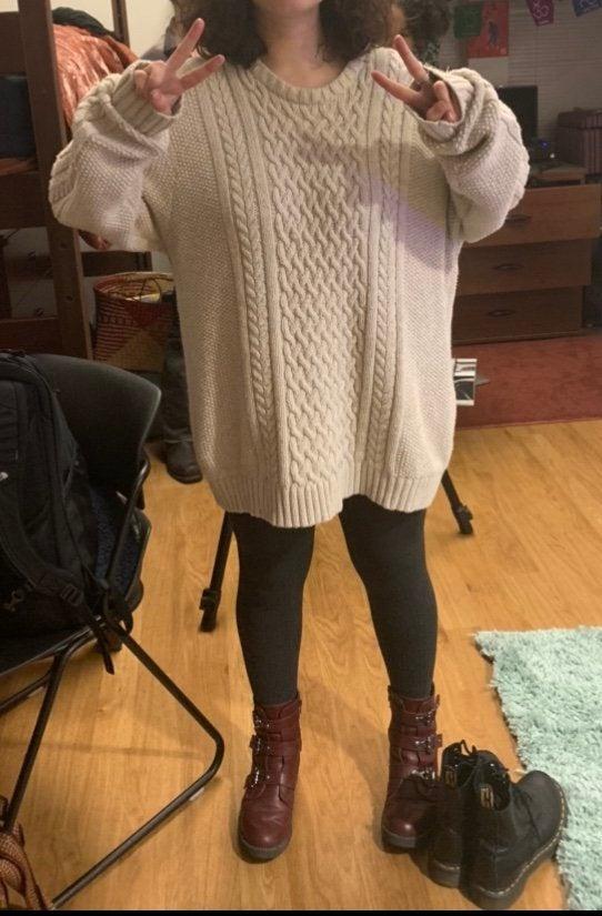 My friend in a sweater dress