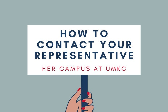 """Hero image of woman holding sign that states \""""How to Contact Your Representative\"""""""