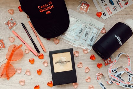 Flatlay of event items