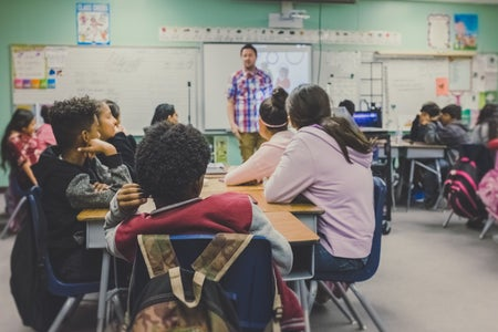 Classroom with male teacher