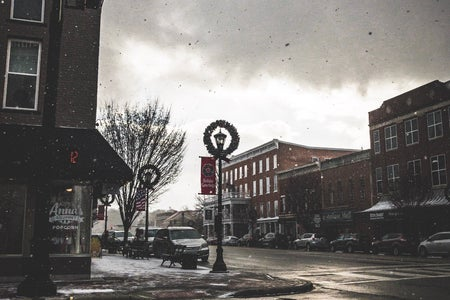 small town at Christmas