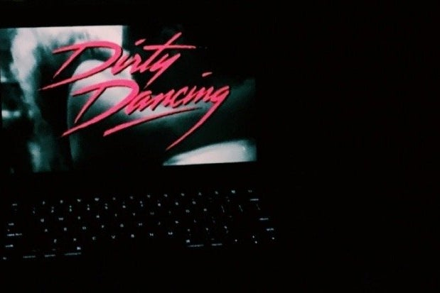 Computer Screen with the title Dirty Dancing in pink