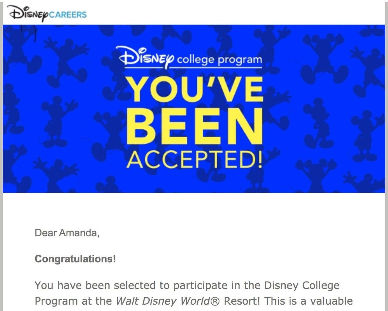 Disney college program acceptance letter