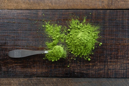 spoon of matcha powder