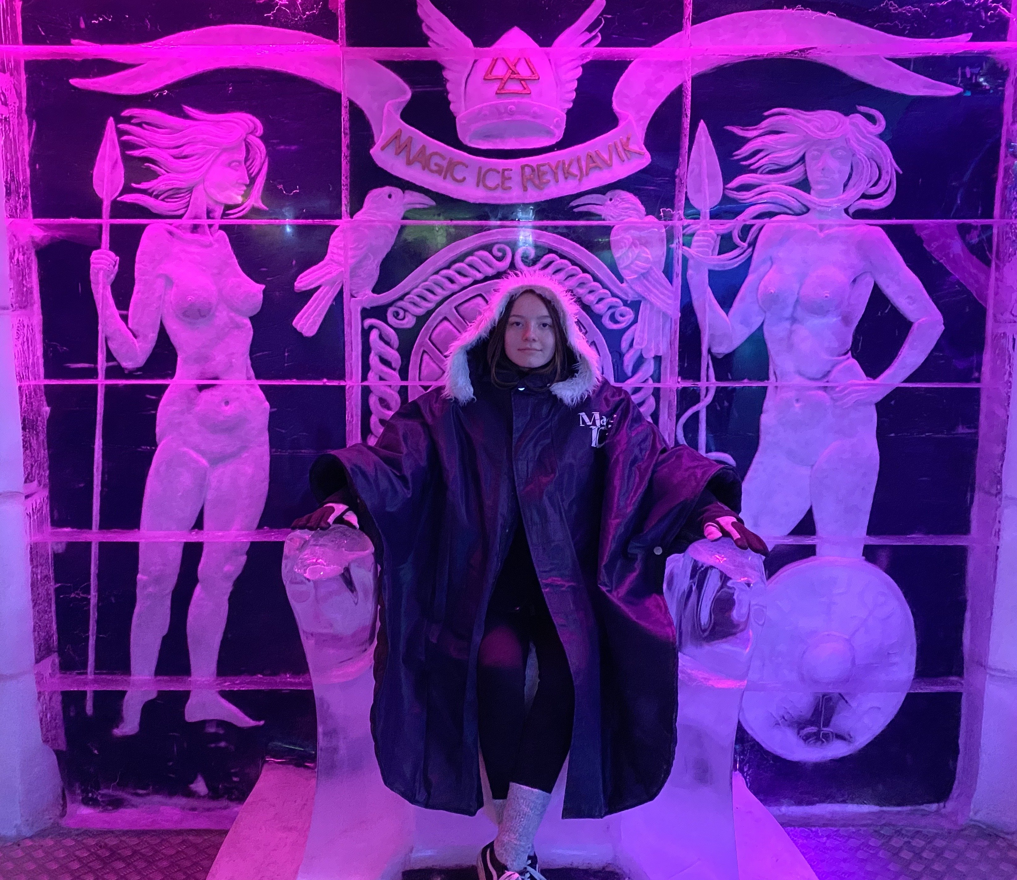 Myself sitting on ice throne in Magic Ice bar