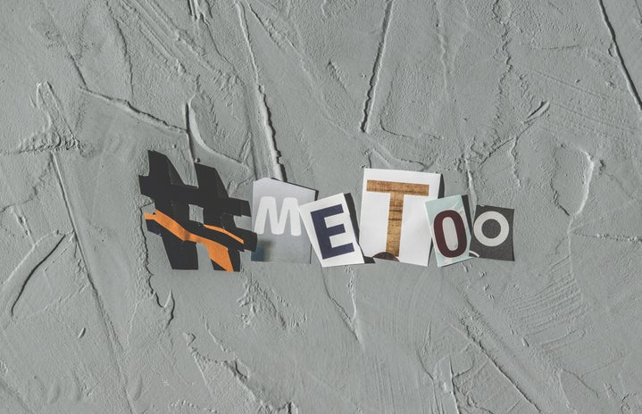 hashtag # me too with magazine cut outs